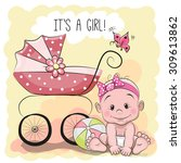 greeting card it's a girl with... | Shutterstock .eps vector #309613862