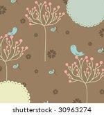 lovely tree and bird background | Shutterstock .eps vector #30963274