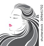 long hair style icon  logo... | Shutterstock .eps vector #309641702