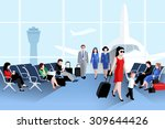 people on airport composition... | Shutterstock .eps vector #309644426