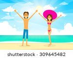 couple on summer vacation... | Shutterstock .eps vector #309645482