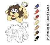 happy cartoon  lion. vector... | Shutterstock .eps vector #309651266