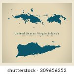 modern map   us virgin islands...