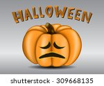 orange scary pumpkin with a... | Shutterstock .eps vector #309668135