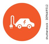 electric car. flat white symbol ... | Shutterstock .eps vector #309669512