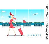 woman with suitcase at the... | Shutterstock .eps vector #309670688