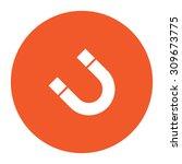 magnet. flat white symbol in... | Shutterstock .eps vector #309673775