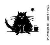 Stock vector funny cat black silhouette sketch for your design vector illustration 309674438