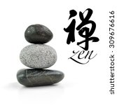 Small photo of Stones pyramid isolated on white background, selective focus. Chinese calligraphy chan, Translation: Meditation, Zen, Dhyana & Abdicate.