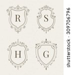 set of luxury premium stylish... | Shutterstock .eps vector #309706796