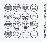 Cute Emoticons Set   Line...