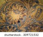 Brown Leatherwork Carved Detail ...