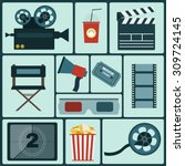 cinema icon set. making movie.... | Shutterstock .eps vector #309724145