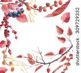 Watercolor Autumn Frame. Hand...