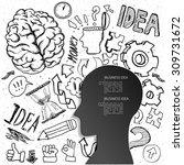 set of thinking doodles... | Shutterstock .eps vector #309731672
