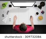 guy working. creative desk mock ... | Shutterstock . vector #309732086