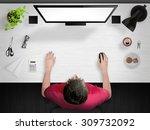 guy working. creative desk mock ... | Shutterstock . vector #309732092