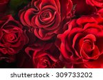 Stock photo bouquet of fresh roses flower bright background 309733202