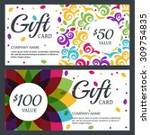 vector floral gift voucher or... | Shutterstock .eps vector #309754835