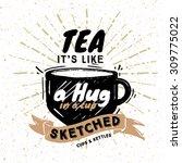 hand drawn modern tea ceremony... | Shutterstock .eps vector #309775022