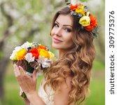 Bride In Blooming Apple Trees....