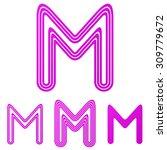 magenta line m logo design set