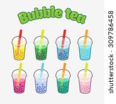 bubble tea icons set with...   Shutterstock .eps vector #309786458