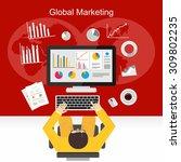businessman working to analyze... | Shutterstock .eps vector #309802235