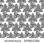 black and white celtic triskels ... | Shutterstock .eps vector #309802286