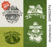 hand draw labels farm fresh. | Shutterstock .eps vector #309802976
