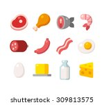 flat icons of meat and dairy... | Shutterstock .eps vector #309813575