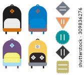 four flat colorful backpacks... | Shutterstock .eps vector #309836276