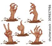 set of zombie hands for... | Shutterstock .eps vector #309837986