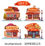 Stock vector vector set of cafe restaurant ice cream shop and bakery 309838115