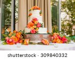wedding cake decorated with...   Shutterstock . vector #309840332