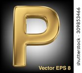 vector letter p from gold solid ...