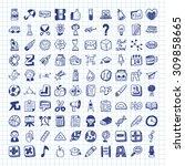doodle school icons | Shutterstock .eps vector #309858665