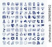 doodle social media icons | Shutterstock .eps vector #309858902
