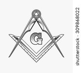freemasonry emblem logo with g... | Shutterstock .eps vector #309868022