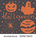 halloween vector. pumpkin ...   Shutterstock .eps vector #309873845