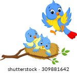 mother bird with two cubs | Shutterstock .eps vector #309881642