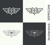 badge and shield with wings.... | Shutterstock .eps vector #309901346