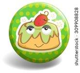 custard cake on badge... | Shutterstock .eps vector #309908828