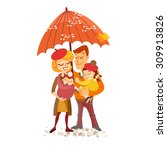 happy family portrait in autumn.... | Shutterstock .eps vector #309913826