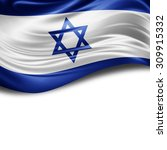 Israel  Flag Of Silk With...