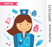 doctor with medical equipment...   Shutterstock .eps vector #309917672
