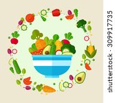 organic fresh fruit and... | Shutterstock .eps vector #309917735