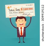 happy man holding large check... | Shutterstock .eps vector #309919112
