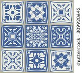 collection of 9 ceramic tiles...   Shutterstock .eps vector #309920642