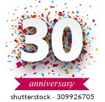 thirty paper sign over confetti.... | Shutterstock .eps vector #309926705